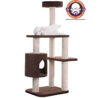 Carpeted Cat Tree With Rope Toy and Condo