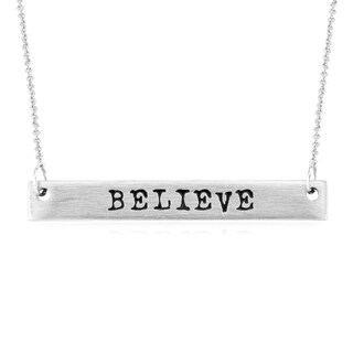 Rhodium-plated Brass Matte Finish 'Believe' Bar Necklace