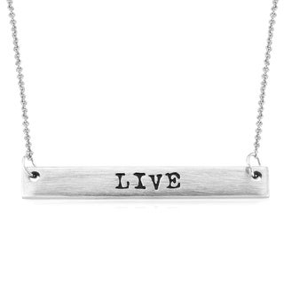 Rhodium-plated Brass Matte Finish 'Live' Bar Necklace