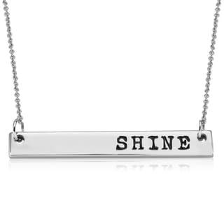 Rhodium-plated Brass 'Shine' Bar Necklace