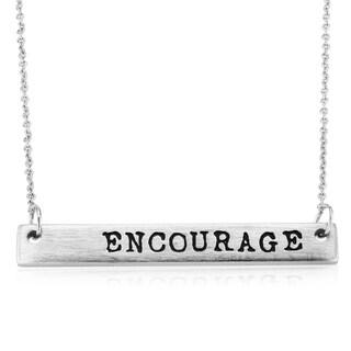 Rhodium-plated Brass Matte Finish 'Encourage' Bar Necklace