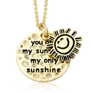 18k Yellow Goldplated 'You Are My Sunshine' Inspirational Disc Necklace