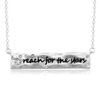 Rhodium-plated Brass 'Reach for the Stars' Bar Necklace