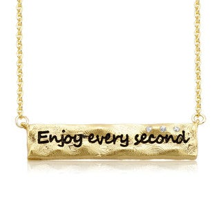 Rhodium-plated Brass 'Enjoy Every Second' Bar Necklace