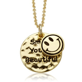 18k Yellow Goldplated 'Smile' Inspirational Round Disc Necklace