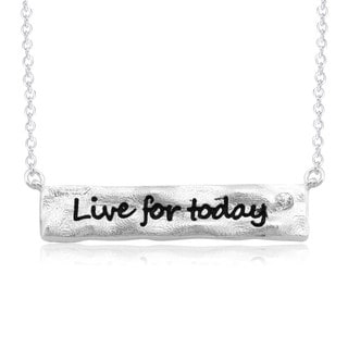 Rhodium-plated Brass 'Live for Today' Bar Necklace