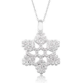 Rhodium-plated Brass Crystal Snowflake Necklace