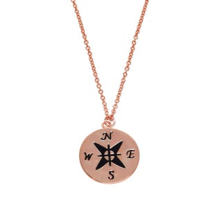 Eternally Haute 14k Gold or Rhodium-Plated Engraved Compass Pendant Necklace (Option: Rose)