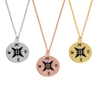 Eternally Haute 14k Gold or Rhodium-Plated Engraved Compass Pendant Necklace