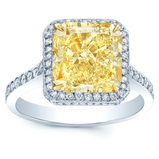 Platinum and 18k Yellow Gold 5 1/3ct TDW Yellow Diamond Gia-certified Ring (H-I, VVS1-VVS2)