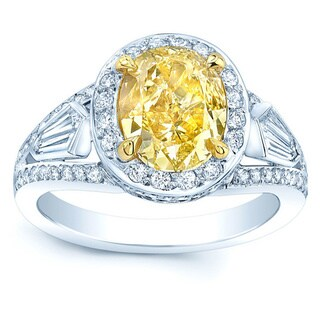 Platinum and 18k Yellow Gold 3 3/5ct TDW Fancy Yellow Diamond Gia-certified Engagement Ring