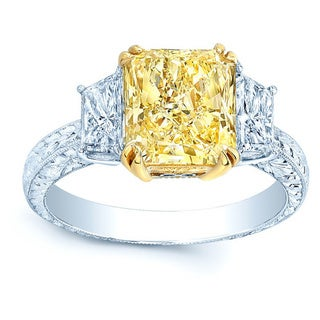 Platinum and 18k Yellow Gold 5 3/5ct TDW Fancy Yellow Diamond Gia-certified Ring (H-I, VS1-VS2)