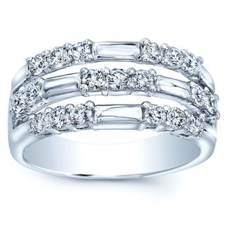 Platinum 7/8ct TDW Diamond Three Row Band