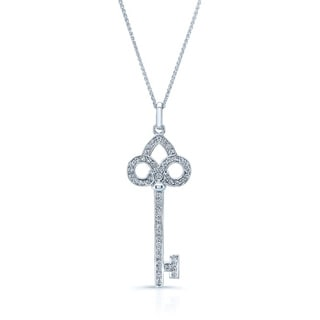 14k White Gold 1/2ct TDW Diamond Key Pendant (H-I, VS1-VS2)