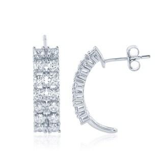 La Preciosa Sterling Silver Double Row Cubic Zirconia Half-hoop Earrings