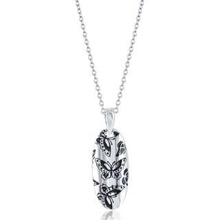 La Preciosa Sterling Silver Butterfly Design Oval Pendant