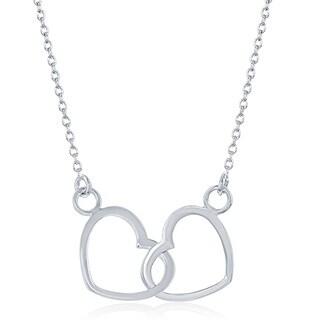 La Preciosa Sterling Silver Lightweight Interlocking Hearts Necklace