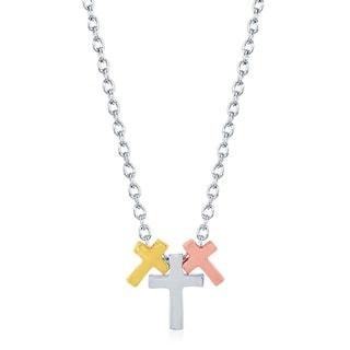 La Preciosa Sterling Silver Tri-color Small Triple Design Necklace