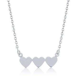 La Preciosa Sterling Silver Triple Heart Necklace