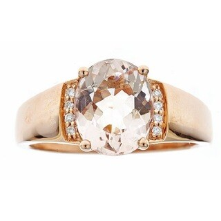 Anika And August 10k Rose Gold Oval Morganite and Diamond Accent Ring (Size 7)