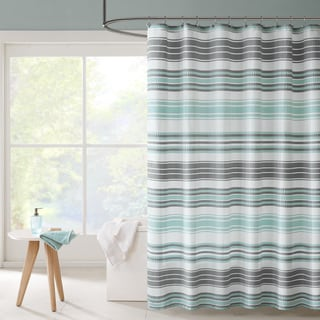 Intelligent Design Sonia Puckering Yarn-Dyed Stripe Shower Curtain