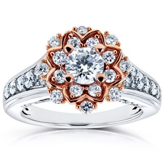 Annello by Kobelli 14k Two Tone Gold 1ct TDW Diamond Flower Engagement Ring