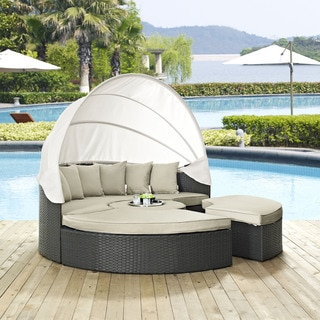 Modway Stopover Rattan Outdoor Patio Daybed and Ottoman Set