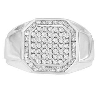 14k White Gold 1ct TDW Diamond Pentagon Shaped Men's Ring (H-I, I1-I2)