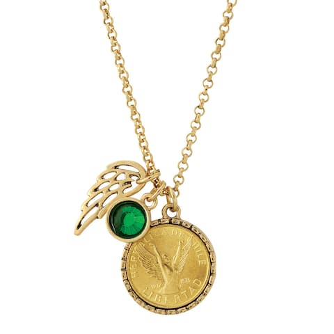 Gold Tone Angel Coin Pendant with Charms - Green