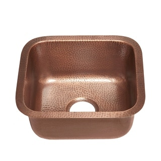 Sinkology Sisley Undermount Handmade Copper Sink 17 in. Bar Prep Sink in Hammered Antique Copper