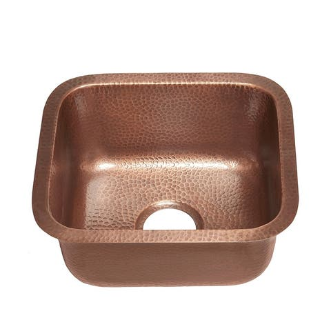 """Sinkology Sisley Undermount Handmade Copper Sink 17"""" Bar Prep Sink in Hammered Antique Copper"""