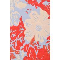 Grey Handmade UV Polyester Hibiscus Rug - 5' x 8'
