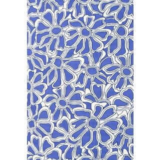 Blue Handmade UV Polyester Fleur Rug (5' x 8')