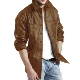 Tanners Avenue Men's Brown Leather Shirt Jacket