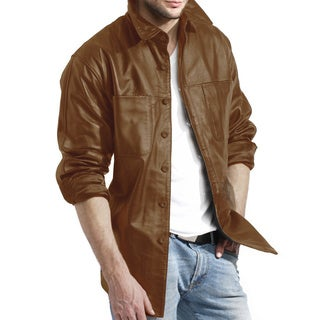 Men's Brown Leather Shirt Jacket Relaxed Fit