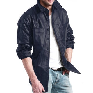 Men's Blue Leather Shirt Jacket