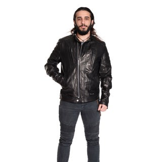 Excelled Men's Leather Cafe Racer Jacket