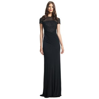David Meister Short Sleeve Matte Jersey Beaded Evening Gown