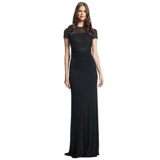 David Meister Short Sleeve Matte Jersey Beaded Evening Gown