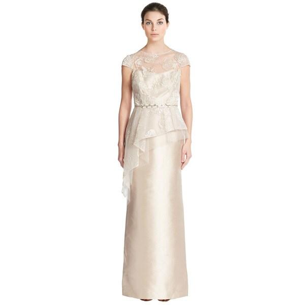 Teri Jon Feminine Metallic Lace Asymmetric Peplum Dress   18157295