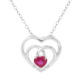 H Star Sterling Silver Created Ruby and Diamond Accent Double Heart Pendant