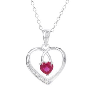 H Star Sterling Silver Created Ruby and Diamond Accent Open Heart Pendant