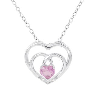 H Star Sterling Silver Created Pink Sapphire and Diamond Accent Double Heart Pendant