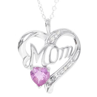 H Star Sterling Silver Created Pink Sapphire and Diamond Accent Mom Pendant