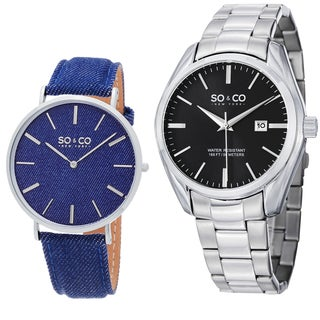 SO&CO New York Men's Blue Denim and Stainless Steel Watch Set