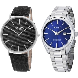 SO&CO New York Men's Quartz Denim Leather Strap and Stainless Steel Bracelet Watch Set
