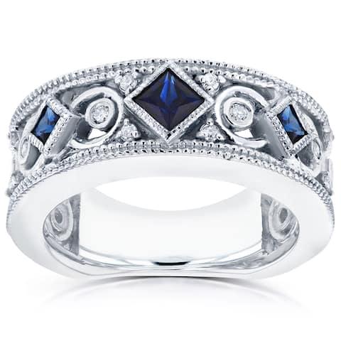 Annello by Kobelli 14k White Gold Sapphire and 1/6ct TDW Diamond Milgrain Infinity Band
