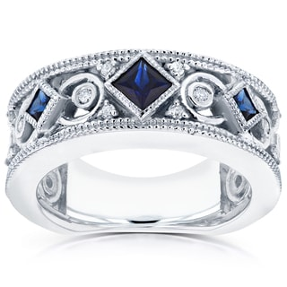 Annello by Kobelli 14k White Gold Sapphire and 1/6ct TDW Diamond Milgrain Infinity Band by Kobelli (G-H, I1-I2)