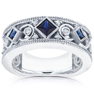 Annello 14k White Gold Sapphire and 1/6ct TDW Diamond Milgrain Infinity Band (G-H, I1-I2)