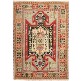 Herat Oriental Indo Hand-knotted Tribal Kazak Light Blue/ Rust Wool Rug (5'8 x 8')